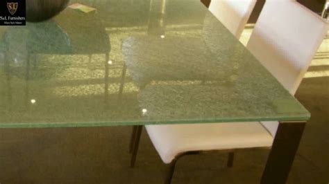 crackle glass table modern glass table with stainless steel 2978