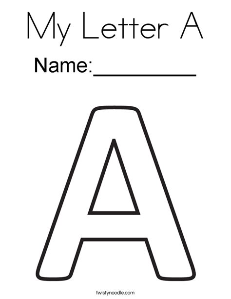 color with letter a my letter a coloring page twisty noodle