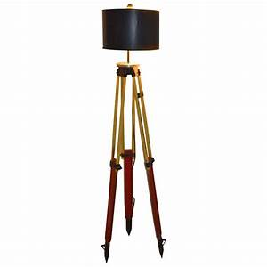 Floor lamp made from a surveyor39s tripod at 1stdibs for Surveyors floor lamp wood