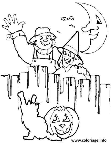 coloriage une citrouille un chat un epouvantail et une soricere pour la soiree d dessin