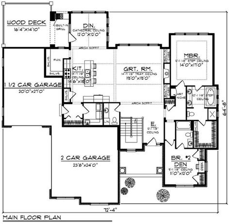 Craftsman Traditional Style House Plan 73430 with 4 Bed