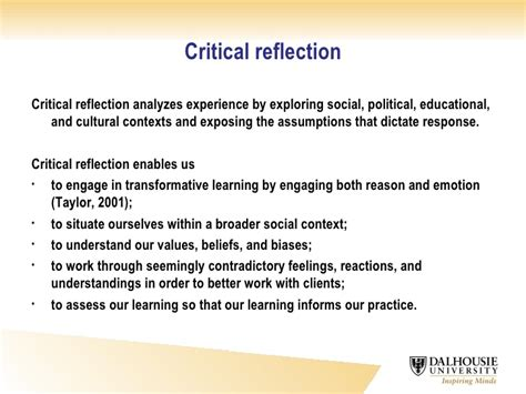 critically reflective portfolio extract related to Purpose the purpose of this paper is to analyse the critical role reflection plays in work-based learning (wbl) design/methodology/approach this paper presents an contextualist examination of reflection in the wbl environment.