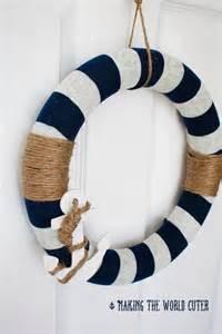 Beach Themed Bathroom Decor Ideas by Nautical Decor How To Make This Navy And White Wreath