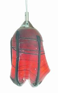 Hanging lamp red and black mexican glass shade art