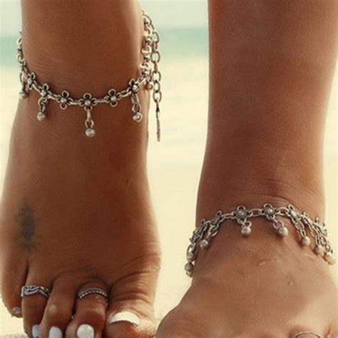 women gold silver plated toe ring ankle bracelet chain