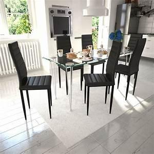 Salle A Manger Noir : acheter 6 pcs chaise salle manger noir ligne slim pas ~ Premium-room.com Idées de Décoration