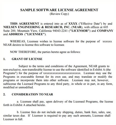 software license agreement templates excel