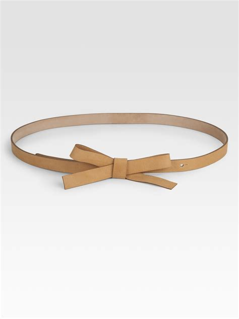 leather bow kate spade new york leather bow belt in brown lyst