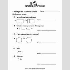 Kindergarten Math Practice Worksheet Printable  Math Worksheets  Pinterest Kindergarten