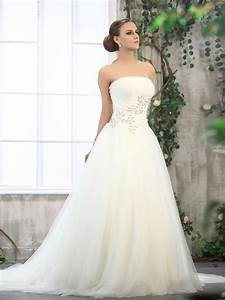 Tulle strapless ball gown wedding dresses with natural for Strapless tulle wedding dress
