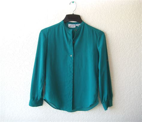 teal blouses shop tospendtime vintage teal pinstripe cuffed blouse xs m
