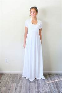 Vintage white wedding dress short sleeve by for Short white wedding dress with sleeves
