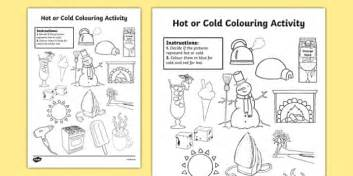 or cold colouring worksheet activity sheet or cold