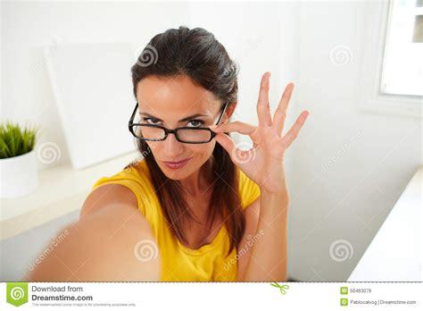 Seductive Brunette Woman Chatting On Phone Stock Image