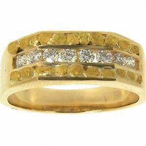 custom alaskan gold nugget and diamond wedding band style With gold nugget wedding rings