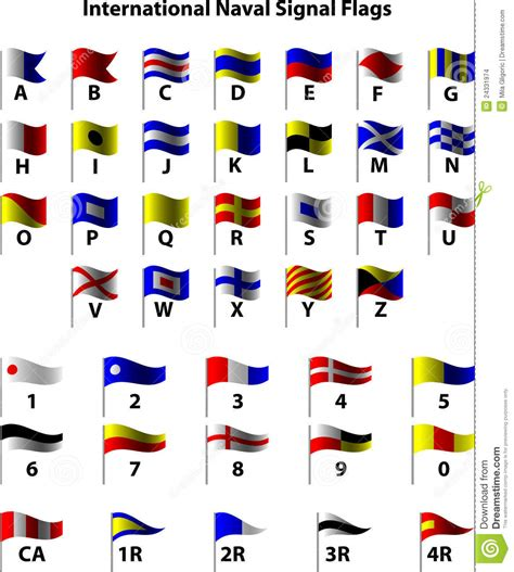 Boat Communication Flags by International Naval Marine Signal Flags Vector