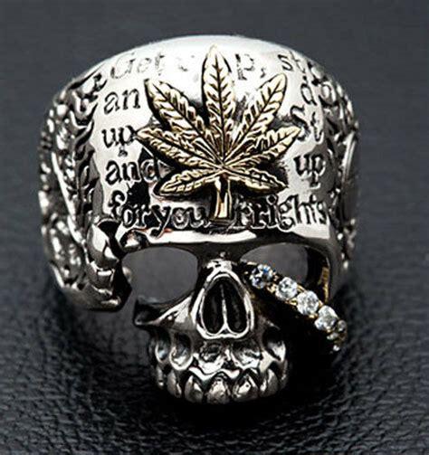 marijuana leaf rasta skull sterling silver s ring biker ebay