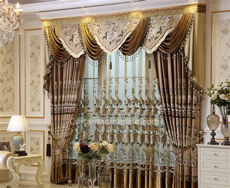 Home Curtain : Luxury Faux Silk Fabric Living Room Curtain In Coffee