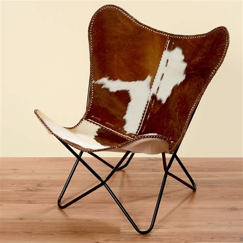 chaise en cuir fauteuil marron blanc peau de vache fourrure cuir