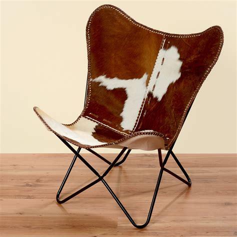fauteuil marron blanc peau de vache fourrure cuir