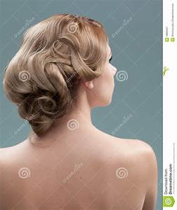 Head And Shoulders Back Image Of Young Woman Hair Stock