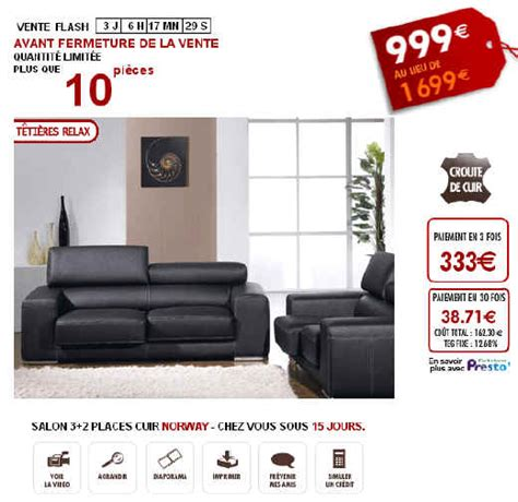 vente flash canape ventes flash salon canapé cuir 3 2 places sur vente