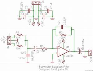 Subwoofer Lowpass Filter Circuit Using Ua741 Single Op