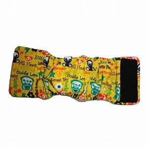 yellow skelanimals cuddle love washable belly band male wrap