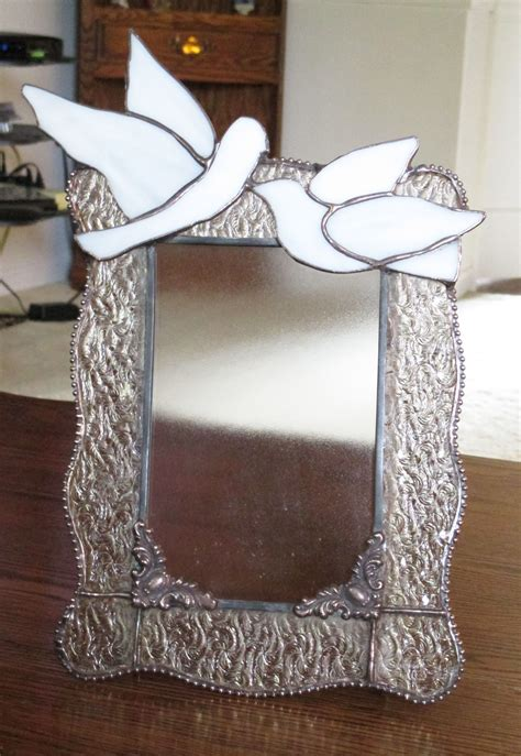 stained glass wedding picture frame  clear granite
