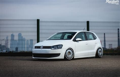 wallpaper volkswagen white wheels tuning polo germany