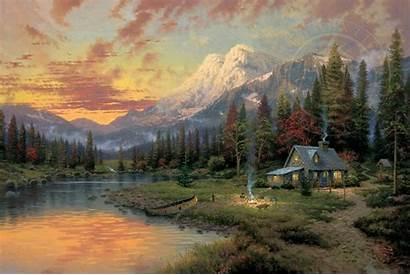 Evening Majesty Kinkade Thomas Painting Cabin Canvas