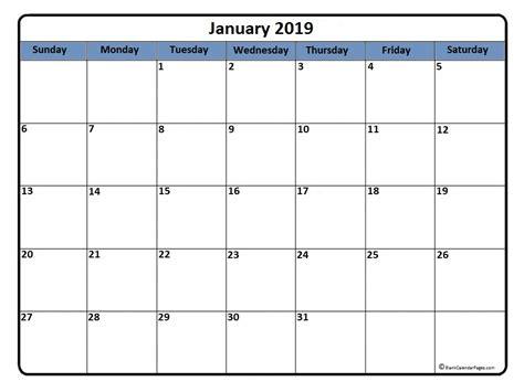 January 2019 Calendar * January 2019 Calendar Printable