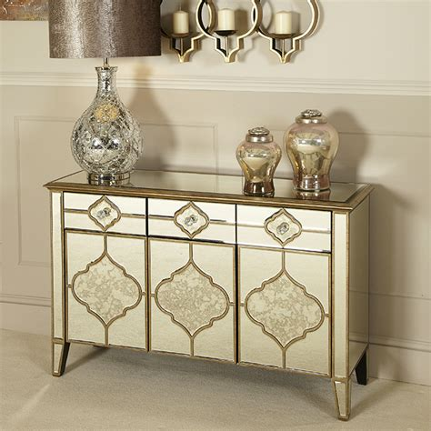 Small Mirrored Sideboard by Mackenzie Mirrored Antique Trim Small 3 Drawer 3 Door
