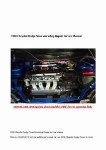 1998 Chrysler Dodge Neon Workshop Repair Service Manual By