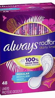 Always Radiant Daily Regular Unscented Wrapped Liners ...