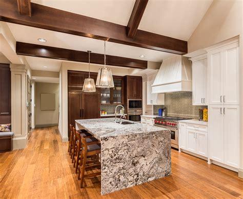 kitchen center island with granite top 28 cool waterfall kitchen island ideas 2018 photos 9188