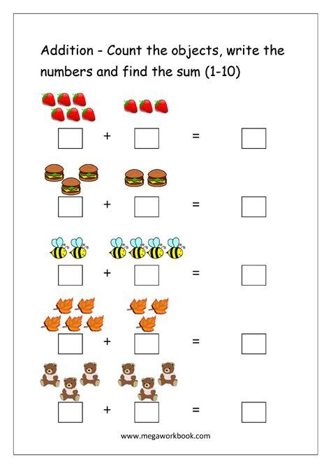 grade math worksheet adding 10 free printable number addition worksheets 1 10 for