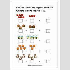 Free Printable Number Addition Worksheets (110) For Kindergarten And Grade 1 Addition On