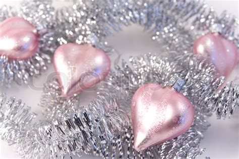 pink christmas decoration with silver garland stock photo colourbox