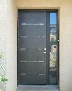 pose de porte d39entree aluminium contemporaine et design With porte d entrée avec tierce