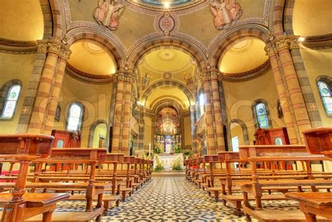 catholic church interior view alba italy stock photo