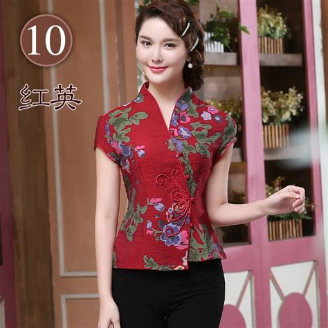 elegant frog button open neck chinese shirt dark red