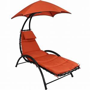 Sunnydaze Chaise Lounge Chair With Canopy Removable Pad