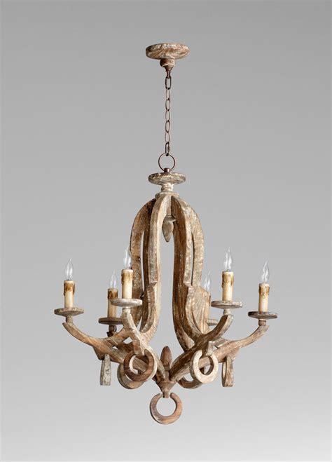 wooden chandeliers galleon 6 light white wood chandelier by cyan design