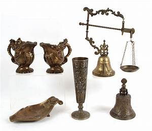 Igavel, Auctions, Brass, And, Metal, Pitchers, Bell, Vase, Scale, And, A, Change, Dish, 20th, C, Fr3sh