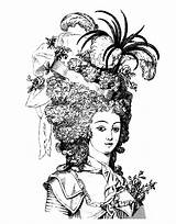 Antoinette Marie Coloring Clip Pages Woman Adult Queen Graphics 18th Century Fairy Hairdressing Ish Lady Coloriage Looking Hair 1880 Livre sketch template