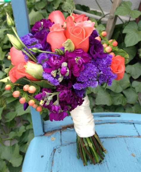 Wedding Flowersbridal Bouquetpurple And Coral Abandoned