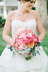 Mint and Pink Peony Wedding Bouquets