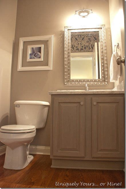 gray painted powder room with stenciled walls paint