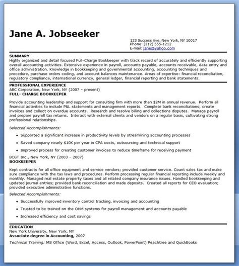 bookkeeper resume sle summary career